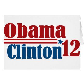 obama Clinton 2012 Tarjeton