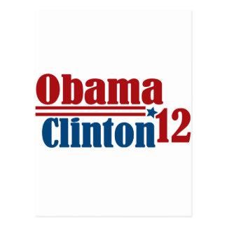 obama Clinton 2012 Tarjeta Postal