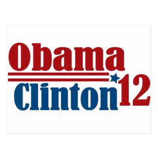 obama Clinton 2012 Postales