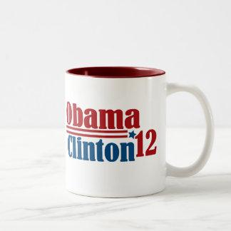 obama clinton 2012 Two-Tone coffee mug