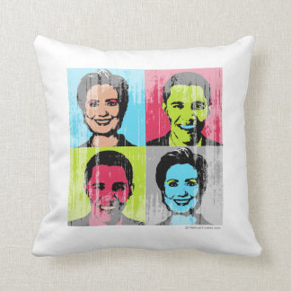 Obama Clinton Faded.png Throw Pillow