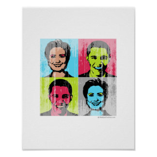 Obama Clinton Faded.png Print