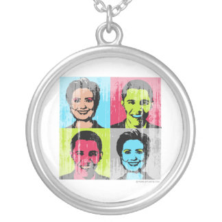 Obama Clinton Warhol Faded png Personalized Necklace
