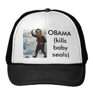 obama clubbing a seal, OBAMA (kills baby seals) Mesh Hats