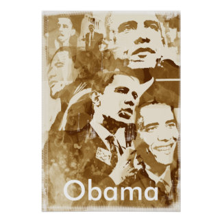 Obama Collage 2 poster (vintage color) by akamundo