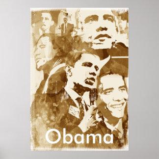Obama Collage 2 poster (vintage color) by akamundo