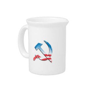 Obama Communist Symbol Faded png Drink Pitchers