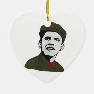 Obama como diseño de Che Guevara Adorno Navideño De Cerámica En Forma De Corazón