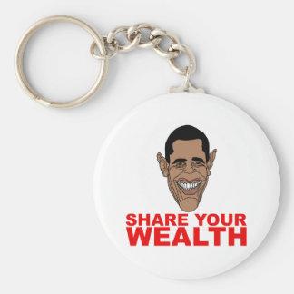 Obama: Comparta su riqueza Llavero Redondo Tipo Pin