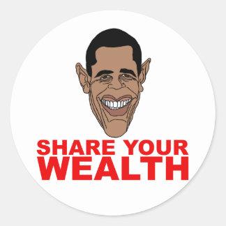 Obama: Comparta su riqueza Pegatina Redonda