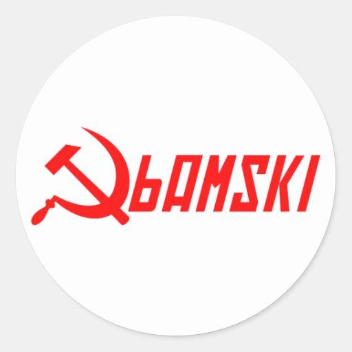 Obama comunista pegatinas redondas