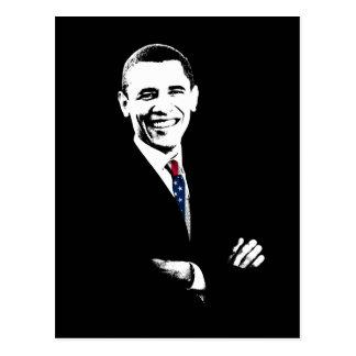 Obama con el lazo de la bandera americana tarjeta postal