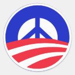 Obama con el signo de la paz etiqueta