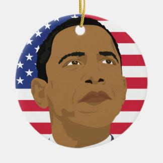 Obama con la bandera americana ornamento de reyes magos