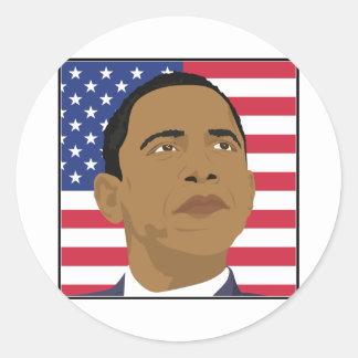 Obama con la bandera americana pegatina redonda