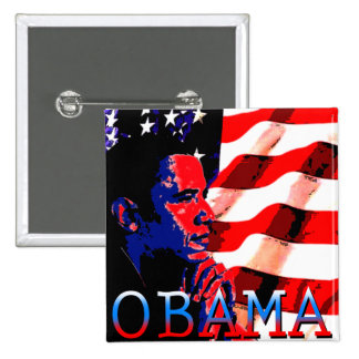 Obama con la bandera americana pin cuadrada 5 cm