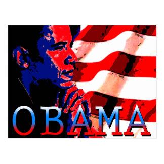 Obama con la bandera americana postales