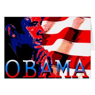 Obama con la bandera americana tarjetón