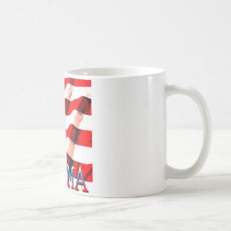 Obama con la bandera americana tazas de café