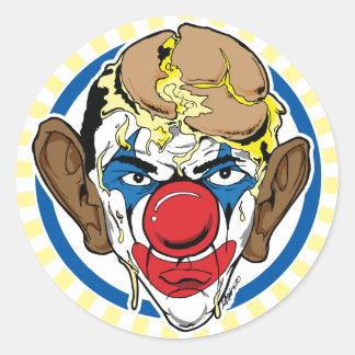 Obama con la empanada en su cara pegatina redonda