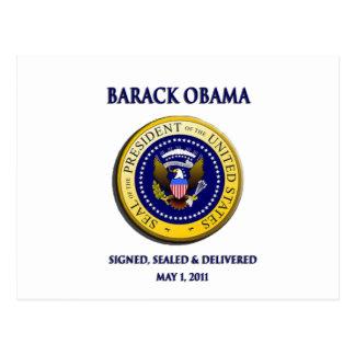 Obama consiguió Osama firmado sellado y entregado Postal