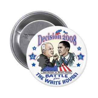 Obama contra McCain 2008 Pin Redondo De 2 Pulgadas
