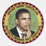 Obama Crony Capitalism Round Sticker