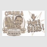 Obama cuatro más cervezas rectangular pegatinas