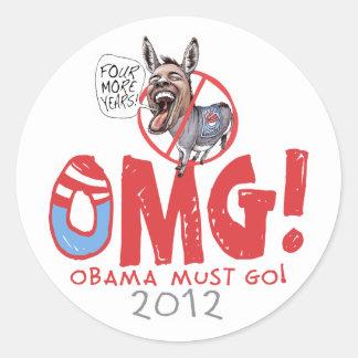 Obama debe ir 2012 pegatinas redondas