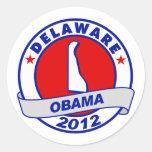 Obama - Delaware Pegatina Redonda