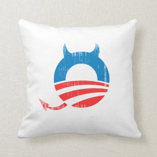 Obama Devil blue Faded.png Throw Pillow