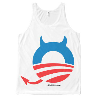 Obama Devil blue - Politiclothes Humor -.png All-Over Print Tank Top