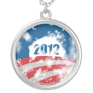 Obama Distressed Symbol Round Pendant Necklace