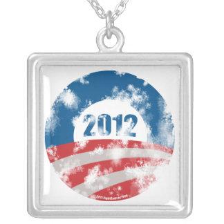 Obama Distressed Symbol Square Pendant Necklace