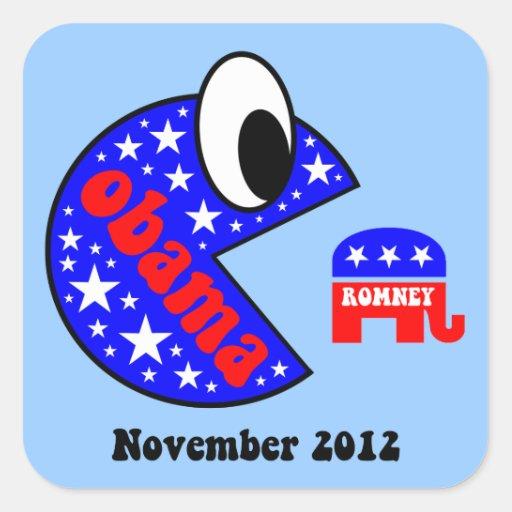 Obama divertido 2012 calcomanía cuadradas personalizadas