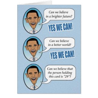 """Obama divertido """"podemos sí"""" tarjeta de cumpleaños"""