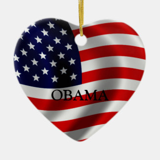 Obama Double-Sided Heart Ceramic Christmas Ornament