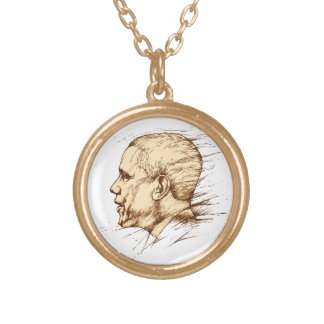 Obama, Drawing Round Pendant Necklace