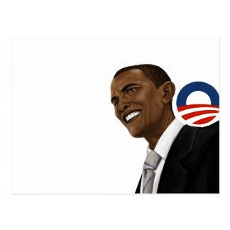 Obama drawing with Obama logo Postcard