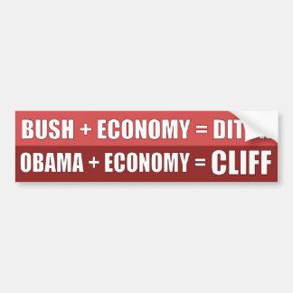Obama + Economy = CLIFF Bumper Stickers