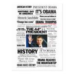 Obama: El 44.o presidente Headline Collage Postal