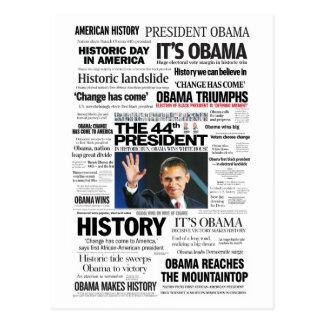Obama El 44 o presidente Headline Collage Postal