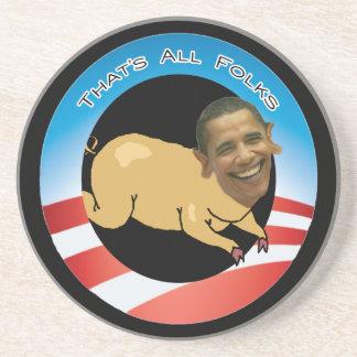 Obama el gran gastador de dinero del cerdo posavasos de arenisca