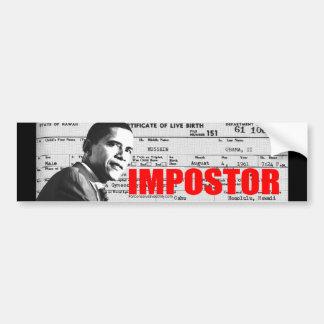 Obama el Impostor Pegatina De Parachoque