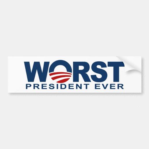 Obama - el presidente peor Ever Pegatina De Parachoque