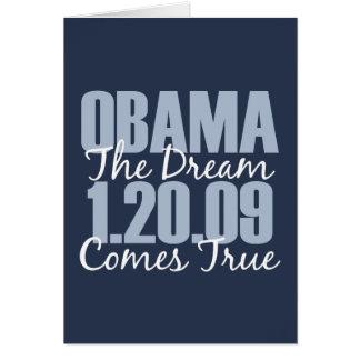 Obama el sueño viene tarjeta de felicitación verda