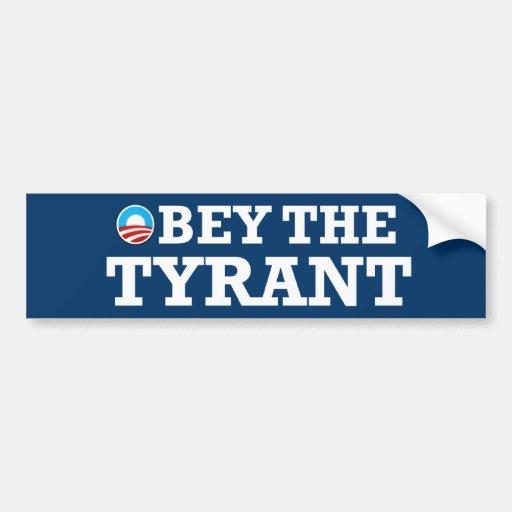 Obama el tirano pegatina de parachoque