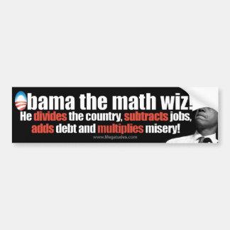 Obama el wiz de la matemáticas - Obama anti 2012 Pegatina Para Auto