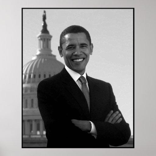 Obama en el edificio del capitolio -- Negro y blan Póster