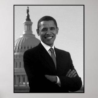 Obama en el edificio del capitolio -- Negro y Póster